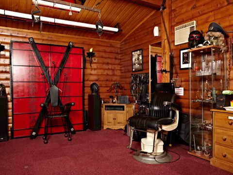 Got wood? A log cabin in the British countryside is home to a fetish playroom