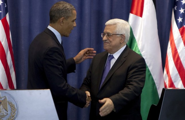 Conference: US president Barack Obama with Palestinian president Mahmoud Abbas in Ramallah