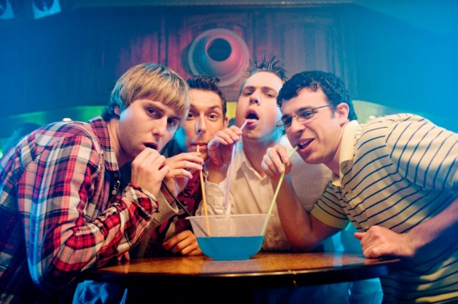 The Inbetweeners starred Thomas, James Buckley and Blake Harrison (Picture: Channel 4)