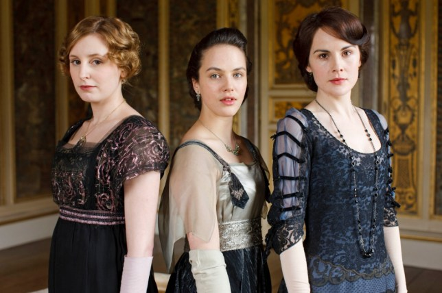 From left, Laura Carmichael as Lady Edith Crawley, Jessica Brown Findlay as Lady Sybil Crawley and Michelle Dockery as Lady Mary Crawley (Picture:Carnival Films)