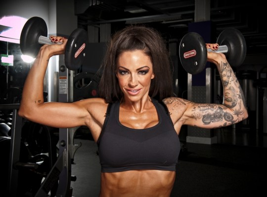 Jodie Marsh poses in the gym at Fitness First in Brentwood.  PIX OF JODIE MARSH IN THE FITNESS FIRST GYM, BRENTWOOD.
