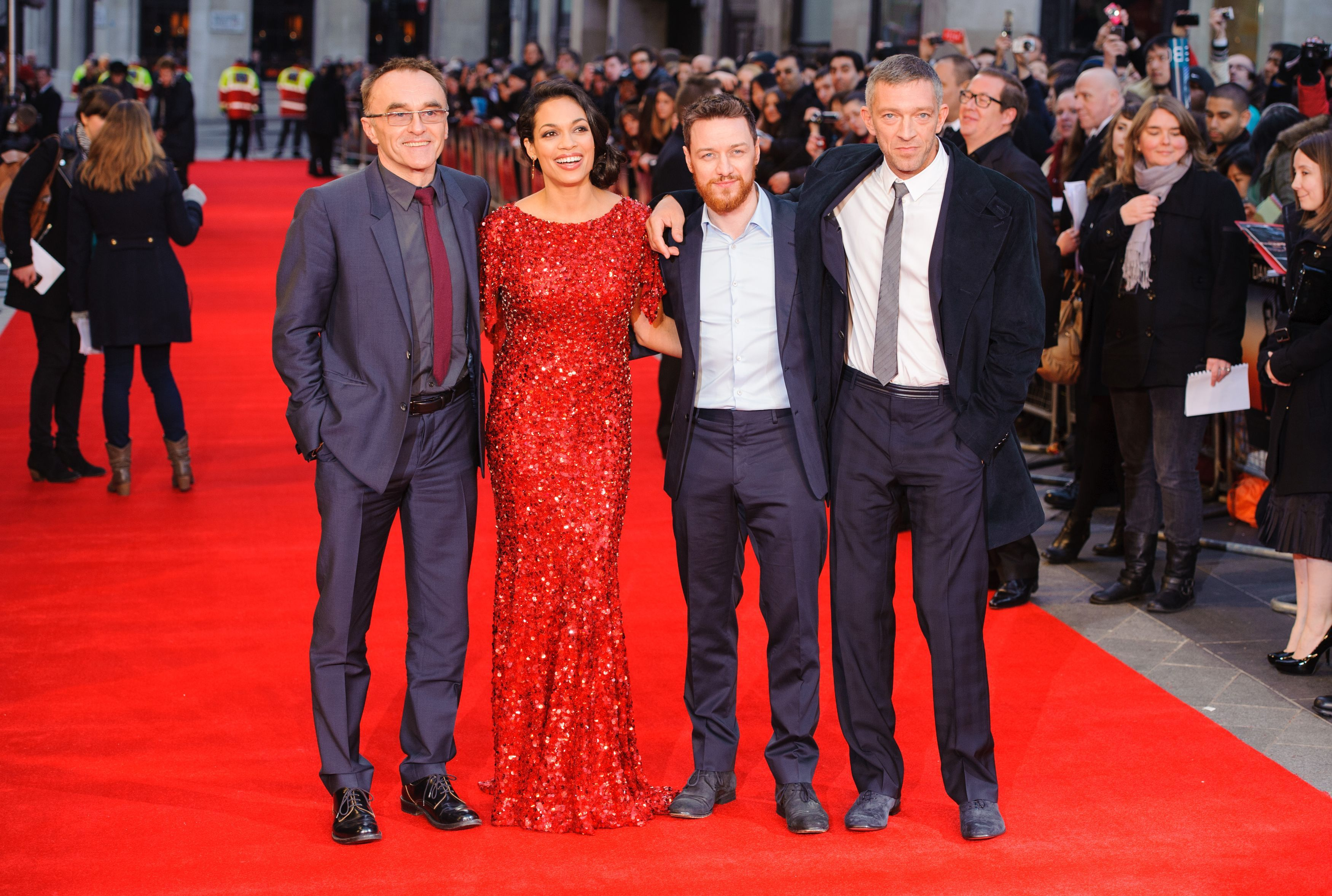 Danny Boyle, Rosario Dawson, James McAvoy and Vincent Cassel attend the premiere of Trance (Picture: PA)