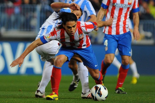 Malaga's Argentinian defender Martin Demichelis (L) vies with Atletico Madrid's Colombian forward Radamel Falcao during the Spanish league football match Malaga CF vs Atletico de Madrid  on March 3, 2013 at Rosaleda stadium in Malaga. AFP PHOTO/ JORGE GUERREROJorge Guerrero/AFP/Getty Images