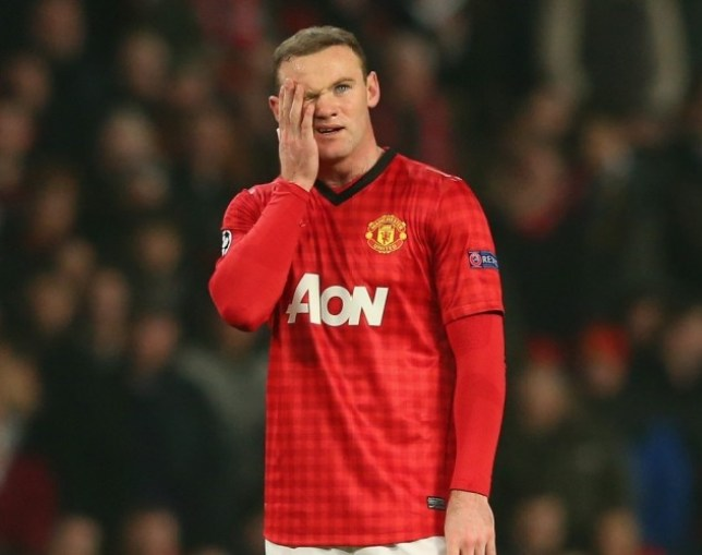 MANCHESTER, ENGLAND - MARCH 05:  Wayne Rooney of Manchester United looks dejected during the UEFA Champions League Round of 16 Second leg match between Manchester United and Real Madrid at Old Trafford on March 5, 2013 in Manchester, United Kingdom.  (Photo by Alex Livesey/Getty Images)