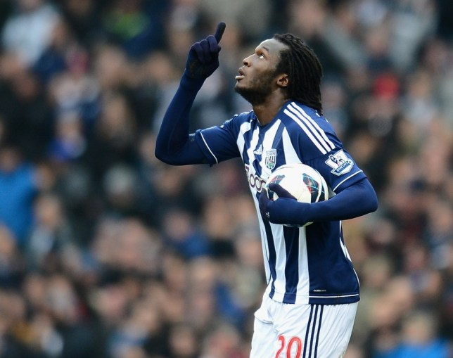 WEST BROMWICH, ENGLAND - MARCH 09:  Romelu Lukaku of West Bromwich Albion celebrates scoring the equalising goal under pressure from Garry Monk of Swansea during the Barclays Premier League match between West Bromwich Albion and Swansea City at The Hawthorns on March 9, 2013 in West Bromwich, England.  (Photo by Laurence Griffiths/Getty Images)