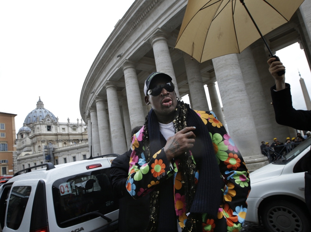 Dennis Rodman arrives in Vatican to campaign for first black Pope – although he's not sure who he is