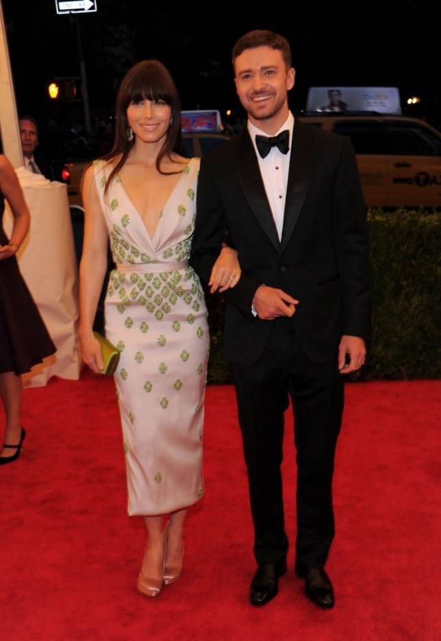 """Jessica Biel and Justin Timberlake attend the """"Schiaparelli And Prada: Impossible Conversations"""" Costume Institute Gala at the Metropolitan Museum of Art on May 7, 2012 in New York City."""
