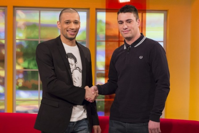 """EDITORIAL USE ONLY / NO MERCHANDISING  Mandatory Credit: Photo by Ken McKay / Rex Features (2208862p)  Curtis Woodhouse and James O'Brian  'Daybreak' TV Programme, London, Britain. - 14 Mar 2013  Internet troll James O'Brian has appeared on Daybreak this morning to apologise to his victims, including boxer Curtis Woodhouse. Woodhouse received a torrent of abuse from Twitter user 'Jimmyob88' after losing his English light-welterweight title during a fight last week. Angered by the comments he offered his followers a GBP 1,000 reward for information about the anonymous poster. He then drove 70 miles to Sheffield and even tweeted a picture of the street he believed Jimmyob88 lived in. He accompanied it with the message: """"Right Jimbob, I'm here. Someone tell me what number he lives at or do I have to knock on every door #itsshowtime."""" Though he never got the chance to confront him, O'Brian Tweeted the boxer to say: """"I am sorry it's getting a bit out of hand, I am in the wrong I accept that."""""""
