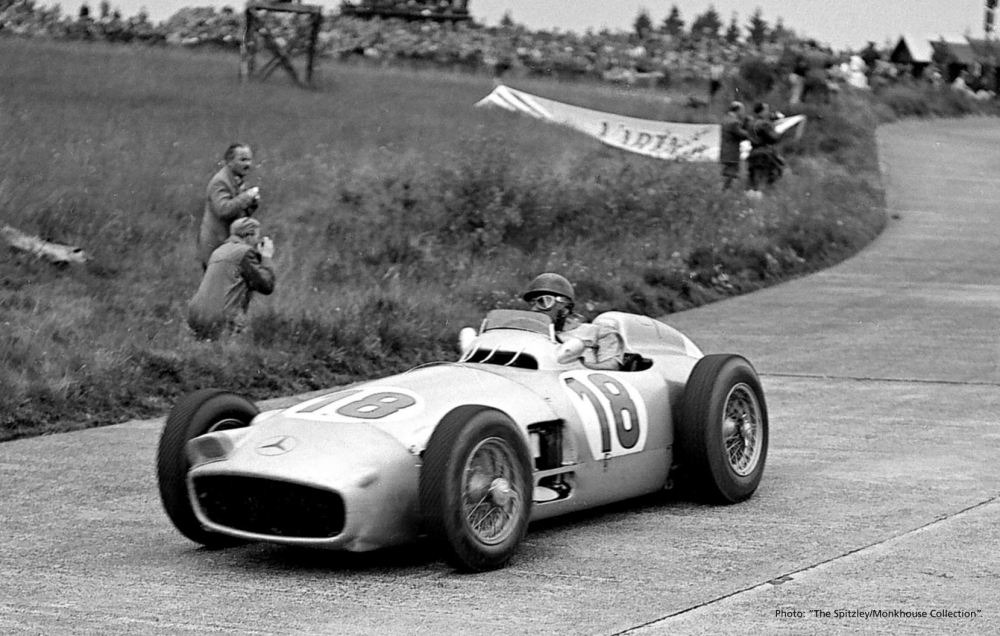 Bonhams undated handout photo of Juan Manuel Fangio driving 1954 2¿-litre straight-8 Mercedes-Benz W196 einsitzer- chassis number ë00006/54í which is being offered for sale by the auction house at the Goodwood Festival of Speed in July. PRESS ASSOCIATION Photo. Issue date: Monday March 18, 2013.  Photo credit should read: Bonhams/PA Wire NOTE TO EDITORS: This handout photo may only be used in for editorial reporting purposes for the contemporaneous illustration of events, things or the people in the image or facts mentioned in the caption. Reuse of the picture may require further permission from the copyright holder.