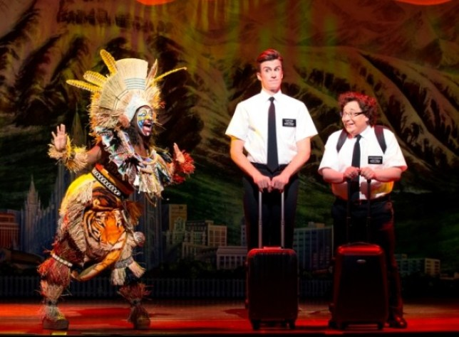 In The Book Of Mormon, Gavin Creel (Elder Price) and Jared Gertner (Elder Cunningham) undertake a missionary adventure in Uganda (Picture: Joan Marcus)