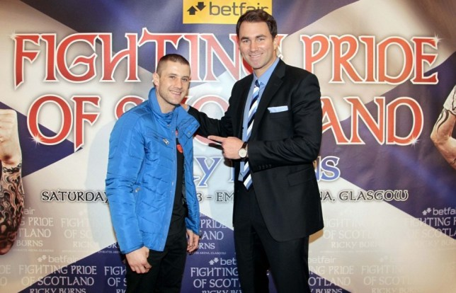 Boxing - Ricky Burns Press Conference - The Marriott Hotel, Glasgow, Scotland - 26/3/13  Ricky Burns (L) with promoter Eddie Hearn after the press conference  Mandatory Credit: Action Images / Graham Stuart  Livepic