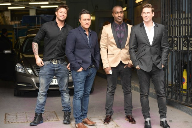 """March 27, 2013:  Antony Costa, Duncan James, Lee Ryan and Simon Webbe of UK boy band """"Blue"""" are seen leaving ITV Studios in London, UK. Mandatory Credit: Moses/INFphoto.com  Ref:infuklo-186