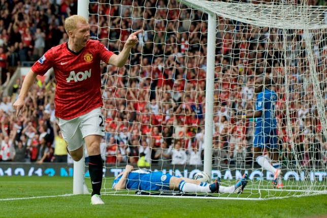 Paul Scholes celebrates scoring against Wigan. September 15th 2012 - Manchester, UK- MANCHESTER UNITED V WIGAN - Man Utd  PIcture by Ian Hodgson/Daily Mail