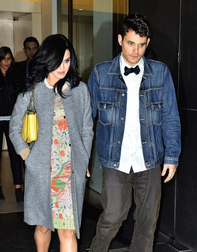 John Mayer left his Lower Manhattan apartment with his girlfriend Katy Perry. The two singers headed to Freeman's restaurant to celebrate John's 35th birthday with family and friends. The couple dined for about 2 hours before sneaking out the back door. <P> Pictured: Katy Perry, John Mayer <B>Ref: SPL448292  171012  </B><BR/> Picture by: Sharpshooter Images /Splash<BR/> </P><P> <B>Splash News and Pictures</B><BR/> Los Angeles: 310-821-2666<BR/> New York: 212-619-2666<BR/> London: 870-934-2666<BR/> photodesk@splashnews.com<BR/> </P>