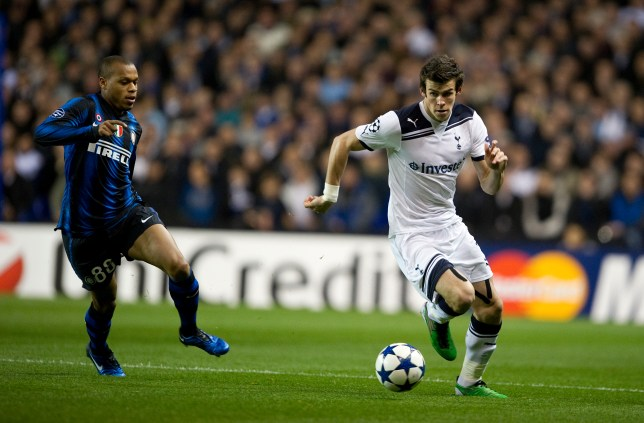 Unstoppable: Gareth Bale takes on Inter's Maicon (Picture: Daily Mail)