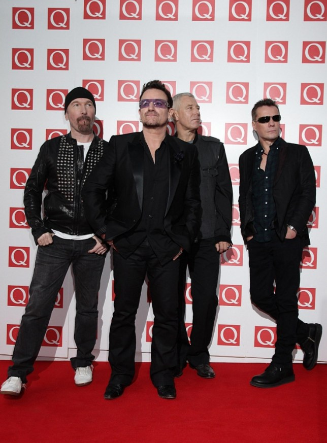 (left to right) The Edge, Bono, Adam Clayton and Larry Mullen, Jr. of U2 arriving for the Q Awards at the Grosvenor House Hotel, London.     PRESS ASSOCIATION Photo. Picture date: Monday October 24, 2011. See PA story SHOWBIZ Q. Photo credit should read: Yui Mok/PA Wire