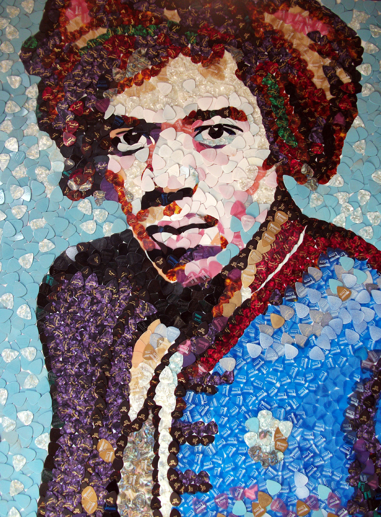 Jimi Hendrix portrait made out of plectrums to go on display