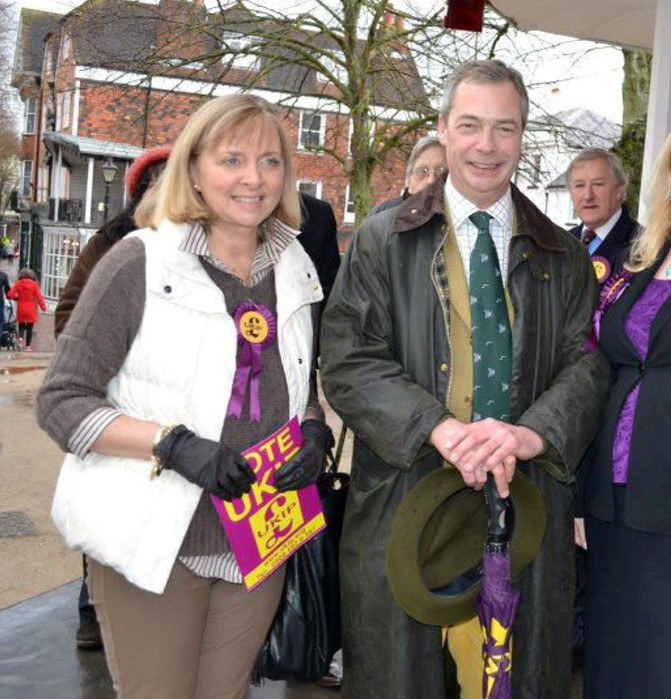 Anna-Marie Crampton campaigns with UKIP leader Nigel Farage