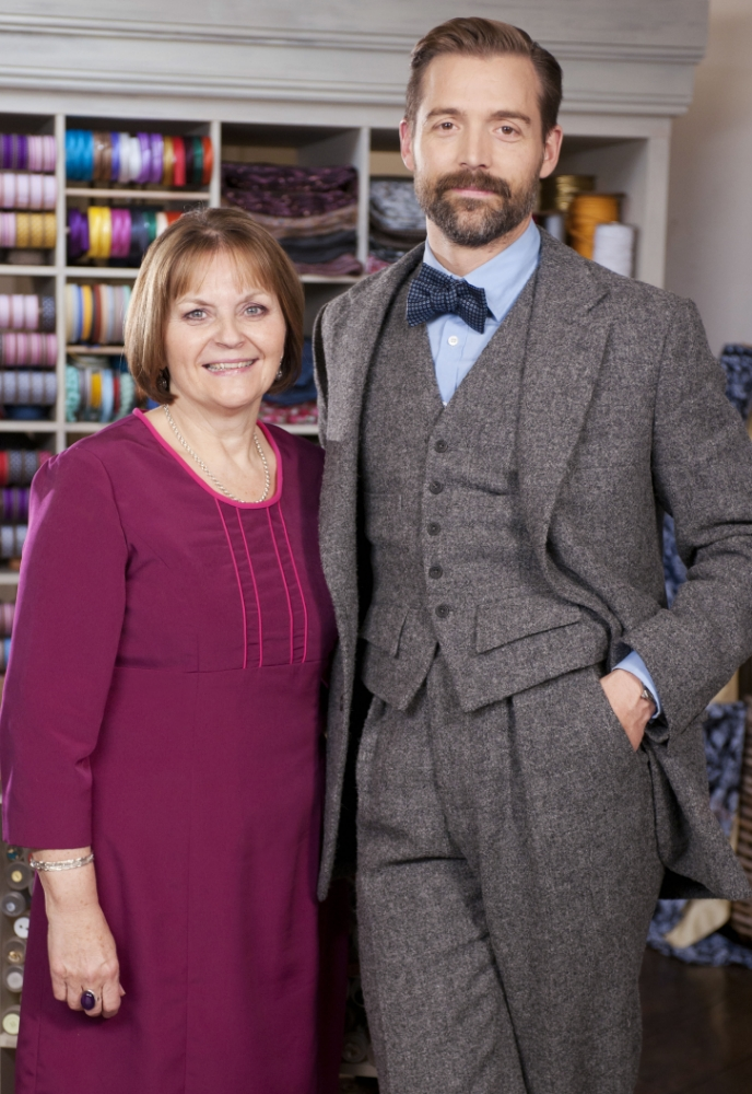 May Martin and Patrick Grant in The Great British Sewing Bee (Picture: Amanda Searle)