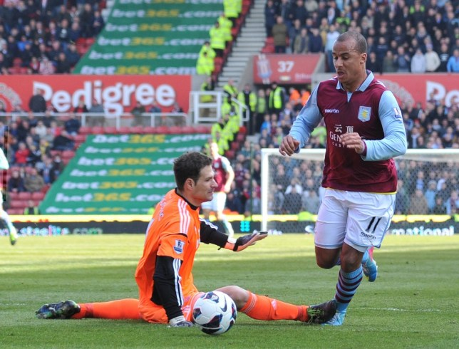 Stoke City's Asmir Begovic, left, challenges Aston Villa's Gabriel Agbonlahor during the English  Premier League soccer match at the Britannia Stadium, Stoke on Trent, England, Saturday April 6, 2013. (AP Photo/Neal Simpson, PA)  UNITED KINGDOM OUT - NO SALES - NO ARCHIVES