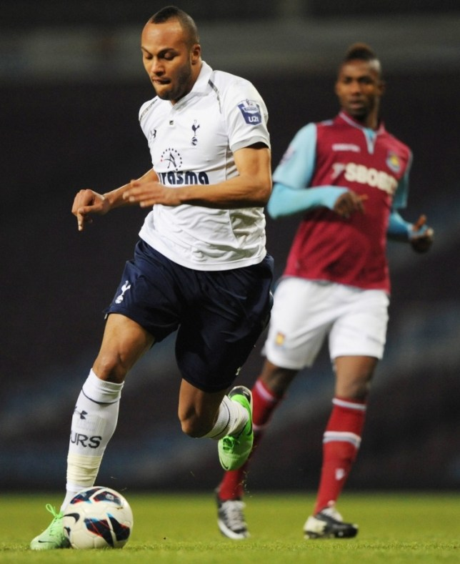 Football - West Ham United v Tottenham Hotspur - Barclays Under 21 Premier League - Upton Park - 8/4/13  Younes Kaboul (L) of Tottenham in action  Mandatory Credit: Action Images / Henry Browne  Livepic