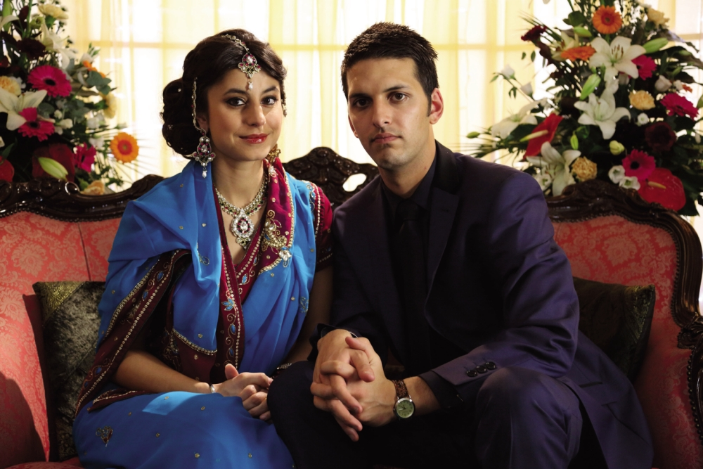 Zahra Ahmadi and Shazad Latif in Love Matters (Picture: Sky)