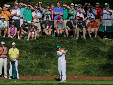 Rory McIlroy's caddie girlfriend Caroline Wozniacki scuffs Augusta tee shot