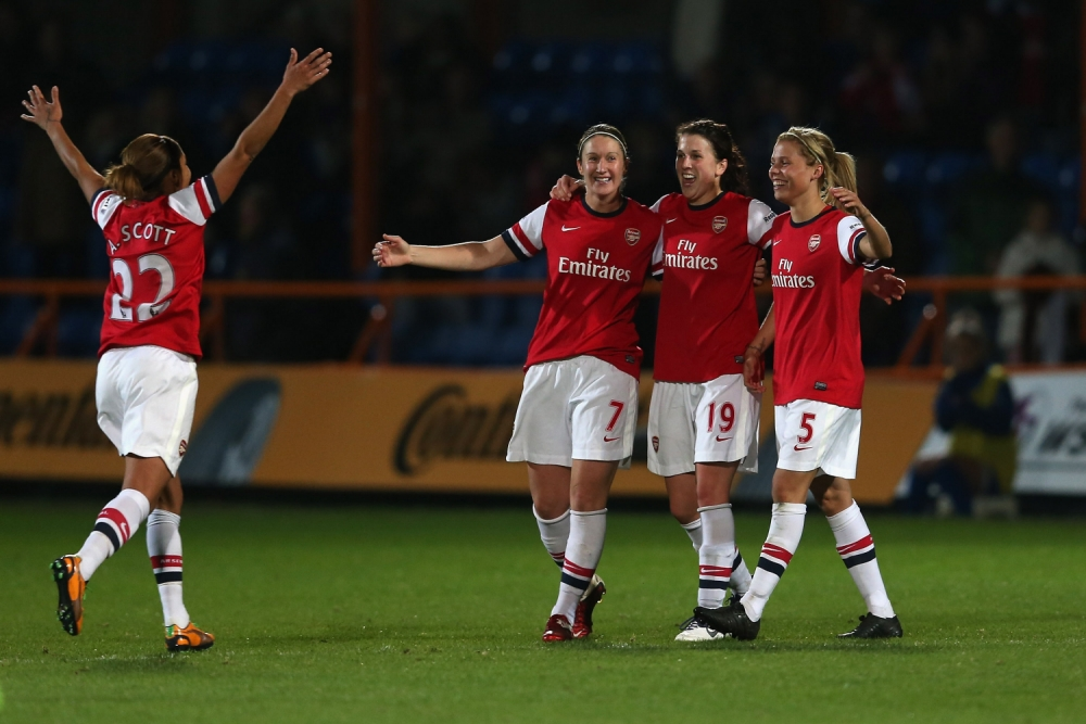 BARNET, ENGLAND - OCTOBER 10:  Arsenal players celebrate at full time after the FA WSL Continental Cup Final match between Arsenal Ladies FC and Birmingham City Ladies FC at Underhill Stadium on October 10, 2012 in Barnet, England.  (Photo by Julian Finney/Getty Images)
