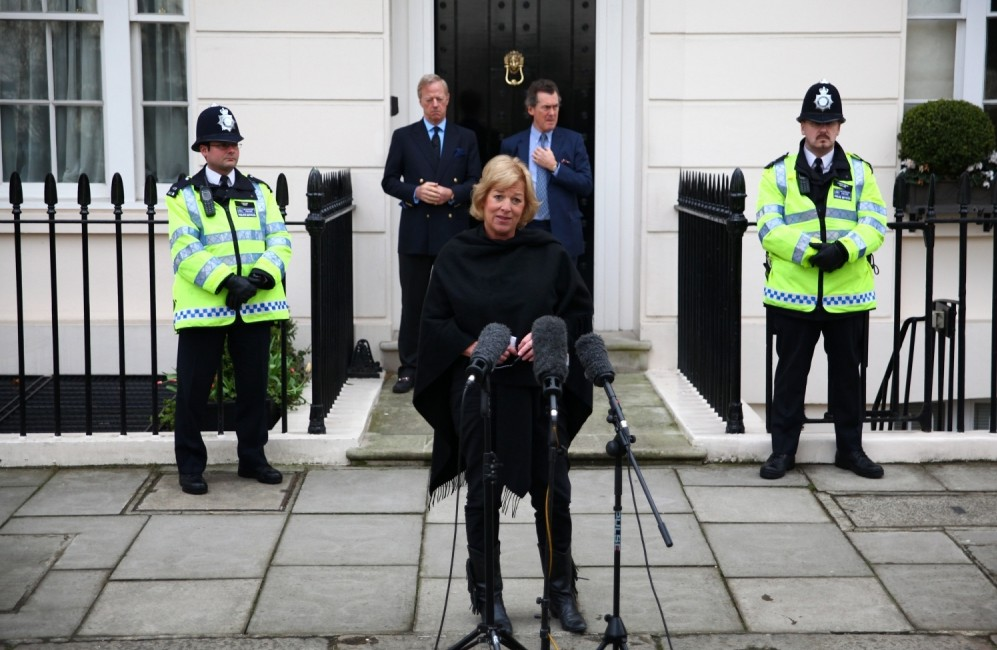 LONDON, Carol Thatcher- APRIL 13:  Carol Thatcher, daughter of former Prime Minister Margaret Thatcher, speaks to the media outside the family home as her brother Mark Thatcher (L) watches on April 13, 2013 in London, England. Downing Street announced that the funeral of former Prime Minister Baroness Thatcher will take place at London's St Paul's Cathedral on April 17.  (Photo by Jordan Mansfield/Getty Images)