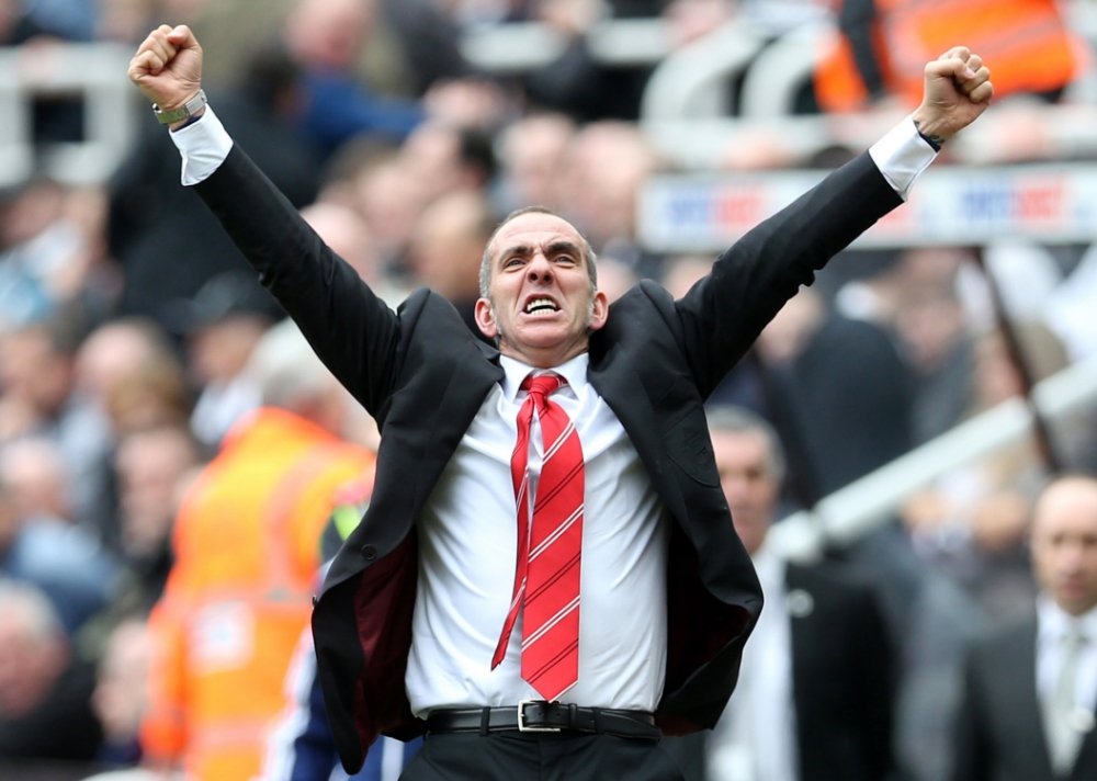 Sunderland's Italian manager Paolo Di Canio celebrates his team's third goal during the English Premier League football match between Newcastle and Sunderland at St James' Park in Newcastle, northeast England, on April 14, 2013. AFP PHOTO/IAN MACNICOL ì RESTRICTED TO EDITORIAL USE. No use with unauthorized audio, video, data, fixture lists, club/league logos or ìliveî services. Online in-match use limited to 45 images, no video emulation. No use in betting, games or single club/league/player publications. îIan MacNicol/AFP/Getty Images