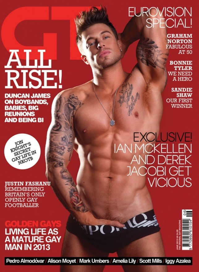 Duncan James gets a grip on things on the cover of GT magazine