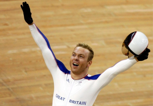 epa03666753 (FILE) A file picture dated 19 August 2008 shows British cyclist Chris Hoy celebrating after winning the gold medal in the men's sprint final during the Beijing 2008 Olympics in the Laoshan velodrome in Beijing, China. Sir Chris Hoy, Britain's most successful Olympian with six gold medals, retired with immediate effect on 18 April 2013. Hoy won a first gold at Athens 2004, added three in Beijing 2008 and two more at the London 2012 Olympics, making him the most successful British Olympian in gold medals.  EPA/OLIVER WEIKEN