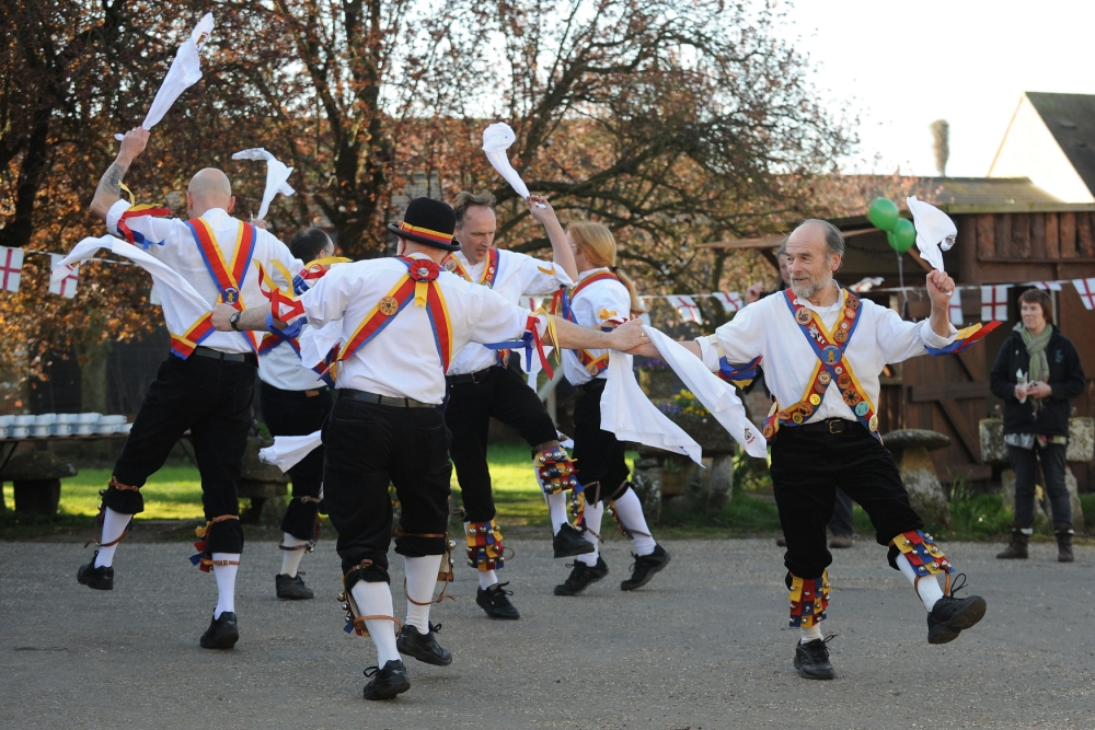 Morris dancers celebrate the launch of British asparagus season. A host of asparagus fans gather today - St George's Day - to eccentrically celebrate the start of the two-month British Asparagus Season, beginning with the Great British Asparagus Run. PRESS ASSOCIATION Photo. Picture date: Tuesday April 23, 2013. Photo credit should read: Joe Giddens/PA Wire