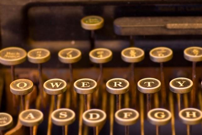 A8CHDJ Retro Antique Typewriter keys QWERTY. Image shot 2007. Exact date unknown.