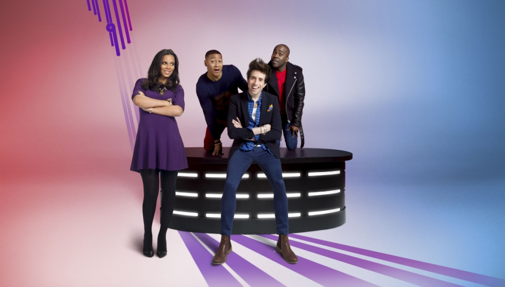 Rochelle Humes, Rickie, Nick Grimshaw and Melvin in Sweat The Small Stuff (Picture: BBC)