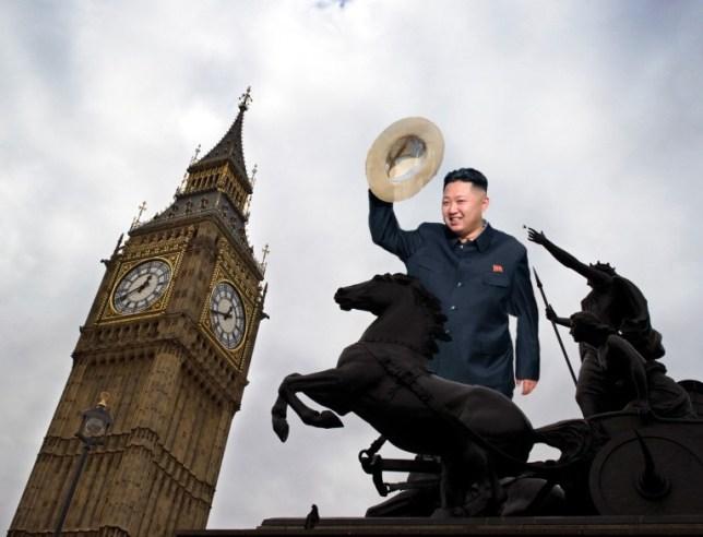 Kim Jong-un looms over Big Ben (Picture: AFP/Getty)