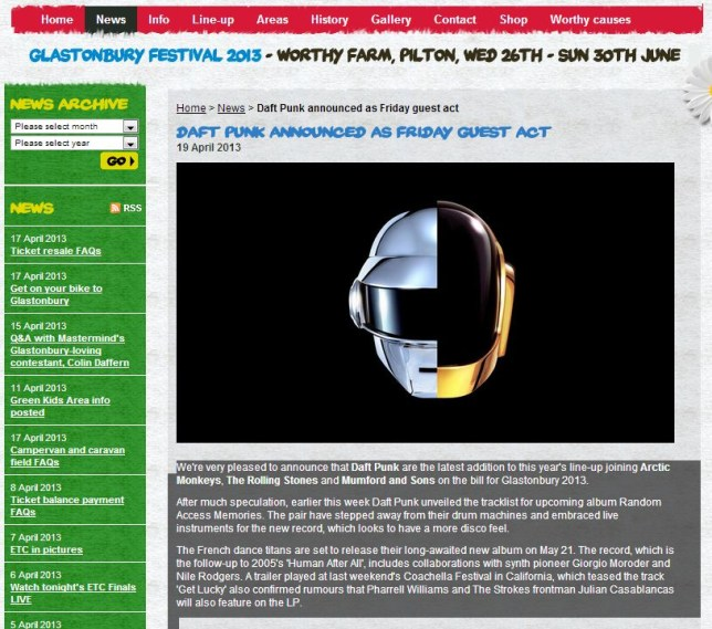 The Daft Punk announcement was posted on a fake website (Picture: glastomburyfestivals.co.uk)