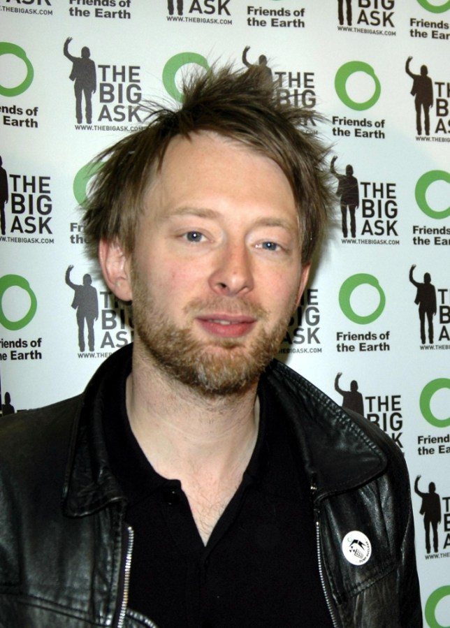 Thom Yorke from Radiohead during the Launch of the Big Ask Campaign, Wednesday May 25, 2005, which calls for a new law forcing the Government to cut greenhouse gas emissions. The Radiohead frontman is supporting a Friends of the Earth campaign for a law compelling the Government to cut carbon dioxide emissions by 3% every year. The Big Ask campaign calls on the public to write to their MPs asking them to back the Climate Change Bill. See PA Story  ENVIRONMENT Radiohead. PRESS ASSOCIATION Photo. Photo credit should read: Balthazar Serrau/Friends of the Earth/PA