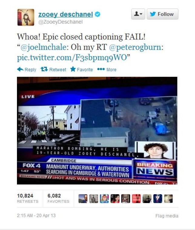 The TV caption named Zooey Deschanel as a suspect