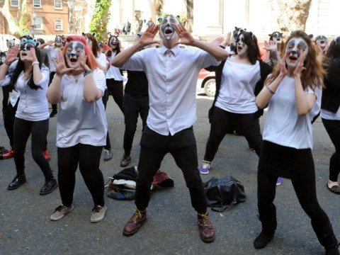 Brian May-inspired badger flash mob protests against culls outside Defra