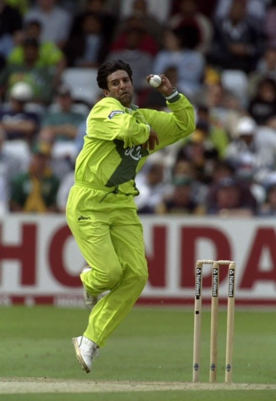 5 Jun 1999:  Wasim Akram of Pakistan bowls in the World Cup Super Six match against South Africa at Trent Bridge in Nottingham, England. South Africa won by 3 wickets.  Mandatory Credit: Laurence Griffiths /Allsport