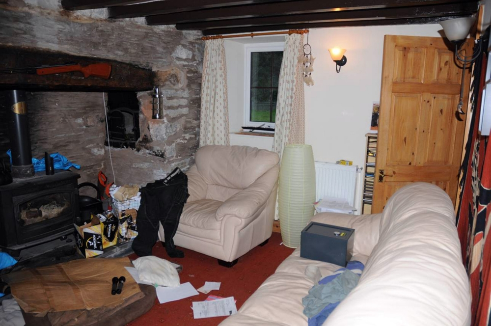 April Jones jury visit home of Mark Bridger as first pictures released from inside cottage where 'blood and bone was found'