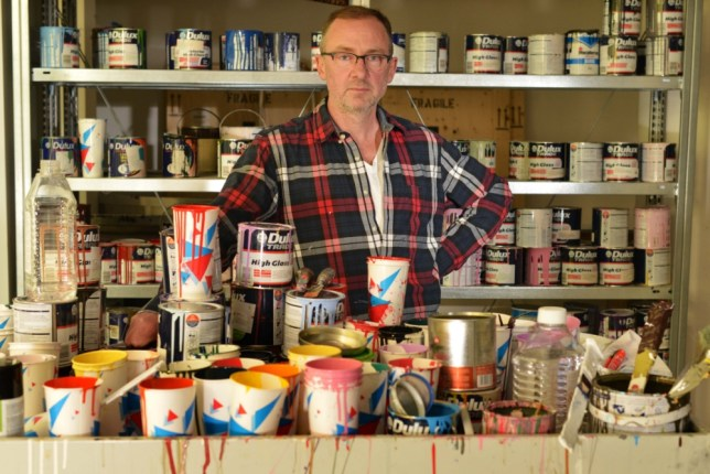Gary Hume in his east London studio (Picture: Daniel Lynch)