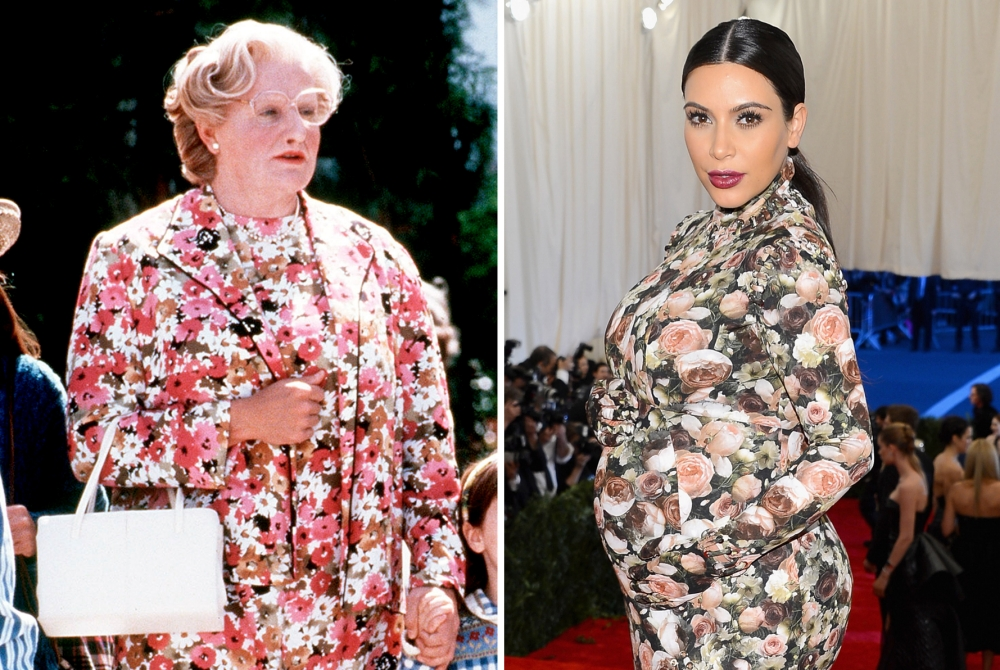 Robin Williams in Mrs Doubtfire and Kim Kardashian