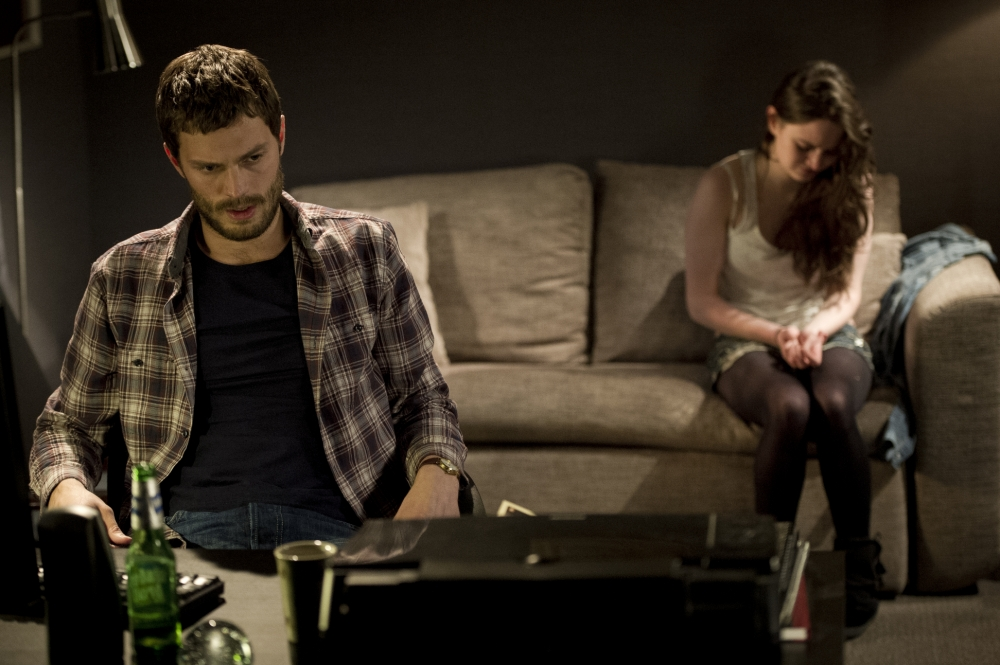 Programme Name: The Fall - TX: n/a - Episode: n/a (No. 2) - Embargoed for publication until: n/a - Picture Shows: The serial killer Paul Spector (Jamie Dornan) and babysitter Katie (Aisling Franciosi)  - (C) Artists Studio - Photographer: Steffan Hill