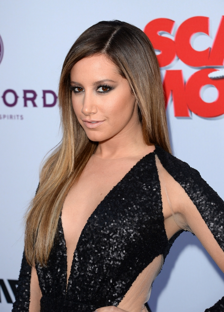 """HOLLYWOOD, CA - APRIL 11:  Actress Ashley Tisdale arrives at the Dimension Films' """"Scary Movie 5"""" premiere at the ArcLight Cinemas Cinerama Dome on April 11, 2013 in Hollywood, California.  (Photo by Jason Merritt/Getty Images)"""
