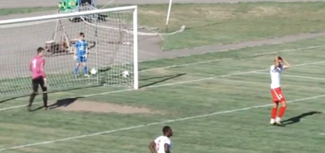 Disbelief: Mittu's team-mates are stunned by the goalkeeper's odd actions (Picture: YouTube)