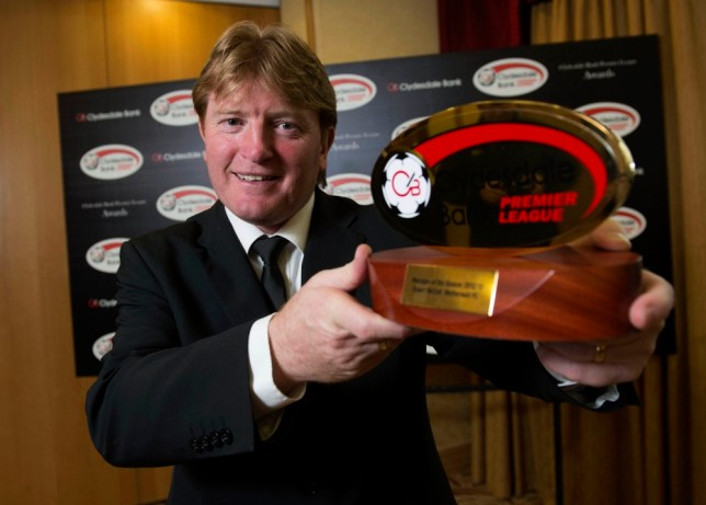 13/05/13 HILTON - GLASGOW Motherwell manager Stuart McCall takes home the SPL Manager of the Year award.