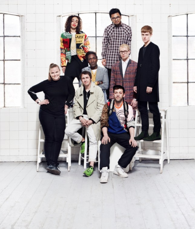 Fashion designers Astrid Andersen, Martine Rose, Matthew Miller, Agi Mdumulla, Shaun Samson, Nasir Mazhar, Sam Cotton and Lee Roach (Picture: Roo Kendall)