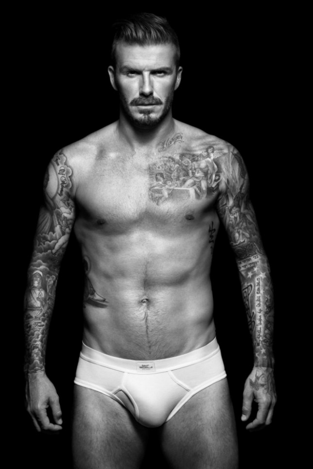 The soccer star David Beckham, promoting H&M underwear.   The soccer star unveiled the new print ads for his H&M underwear line.   http://www.facebook.com/media/set/?set=a.146755971570.121766.84218631570&type=3